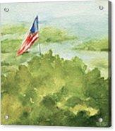 Cape Cod Beach With American Flag Painting Acrylic Print