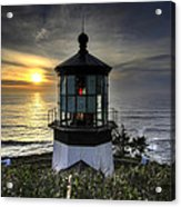 Cape Meares Lighthouse At Sunset Acrylic Print