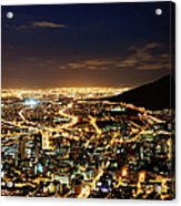 Cape Town, South Africa By Night Acrylic Print