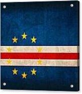 Cape Verde Flag Vintage Distressed Finish Acrylic Print
