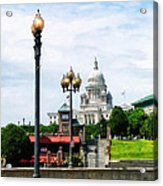 Capitol Building Seen From Waterplace Park Acrylic Print by Susan Savad