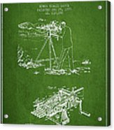 Capps Machine Gun Patent Drawing From 1899 - Green Acrylic Print