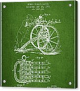 Capps Machine Gun Patent Drawing From 1902 - Green Acrylic Print