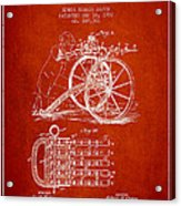 Capps Machine Gun Patent Drawing From 1902 - Red Acrylic Print