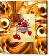 Cappuccino Abstract Collage Cherries Acrylic Print