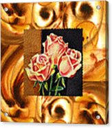 Cappuccino Abstract Collage French Roses Acrylic Print