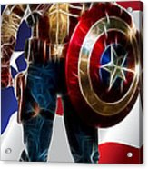 Captain America In Front Of Old Glory Acrylic Print