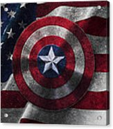 Captain America Shield On Usa Flag Acrylic Print
