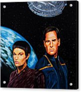 Captain Archer And T Pol Acrylic Print by Robert Steen
