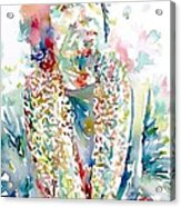 Captain Beefheart Watercolor Portrait.2 Acrylic Print by Fabrizio Cassetta