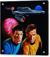 Captain Kirk And Mr. Spock Acrylic Print by Robert Steen