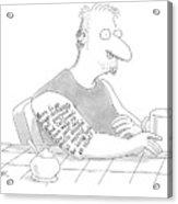 Captionless: Long Tattoo On Arm Of Man Drinking Acrylic Print