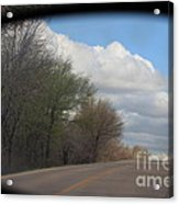 Car Mirror Landscape With Road And Sky. Acrylic Print