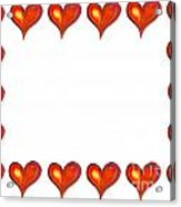 Card Frame Made Of Watercolor Hearts Acrylic Print