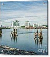 Cardiff Bay Towards St Davids Hotel Long Exposure Acrylic Print