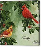 Cardinals Holiday Card - Version Without Snow Acrylic Print by Crista Forest