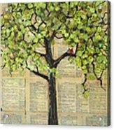 Cardinals In A Tree Acrylic Print by Blenda Studio