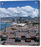 Cargo Containers At A Harbor, Honolulu Acrylic Print