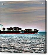 Cargo Ship Near Chesapeake Bay Bridge Tunnel Acrylic Print