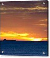 Cargo Ship On Horizon At Dawn Acrylic Print