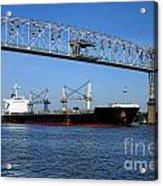 Cargo Ship Under Bridge Acrylic Print