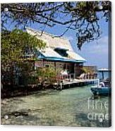 Caribbean House And Boat Acrylic Print