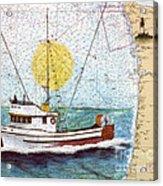 Carina Trawl Fishing Boat Nautical Chart Map Art Acrylic Print