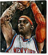 Carmelo Anthony Acrylic Print by Michael  Pattison