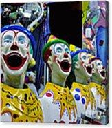 Carnival Clowns Acrylic Print by Kaye Menner