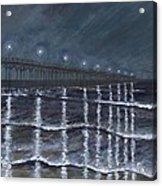 Carolina Beach Pier By Night Acrylic Print