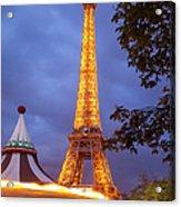 Carousel And Eiffel Tower Acrylic Print