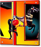 Carousel Horse Fireman 04 In Teal Acrylic Print