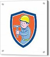 Carpenter Builder Hammer Shield Cartoon Acrylic Print