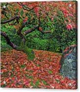 Carpet Of Fall Colors In Portland Japanese Garden Acrylic Print