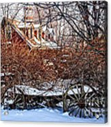Carriage House In Snow Acrylic Print