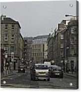 Cars And Buildings On The Streets Of Edinburgh Acrylic Print