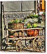 Cart And Flowers In Slovenia Acrylic Print