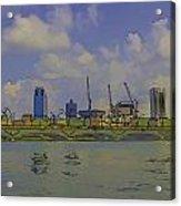 Cartoon - Buildings And Bridge On The Marina Reservoir Acrylic Print