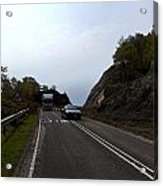 Cartoon - Car And Truck Crossing A Road Repair Section Of Highway In Scotland Acrylic Print