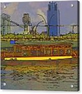 Cartoon - Colorful River Cruise Boat In Singapore Next To A Bridge Acrylic Print
