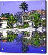 Cartoon - Cottages And Lagoon Water Acrylic Print