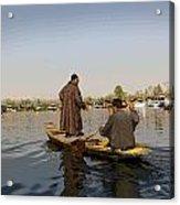 Cartoon - Kashmiri Men Plying A Wooden Boat In The Dal Lake In Srinagar Acrylic Print