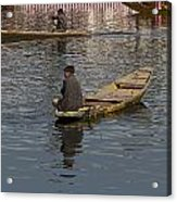 Cartoon - Kashmiri Men Rowing Many Small Wooden Boats In The Waters Of The Dal Lake Acrylic Print