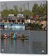 Cartoon - Ladies On 2 Wooden Boats On The Dal Lake With The Background Of Houseboats Acrylic Print