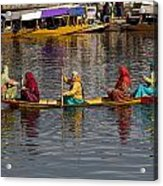 Cartoon - Ladies On A Wooden Boat On The Dal Lake With The Background Of Hoseboats Acrylic Print