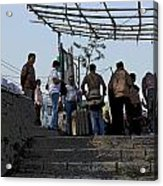Cartoon - Locals And Tourists Standing At The Top Of The Steps Near The Dal Lake Acrylic Print