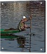 Cartoon - Man Plying A Wooden Boat On The Dal Lake Acrylic Print