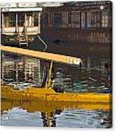 Cartoon - Man Plying Wooden Shikara With Side Lettering Of Kodak Express In The Dal Lake Acrylic Print