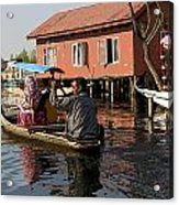 Cartoon - Man Rowing A Family In A Wooden Boat Acrylic Print