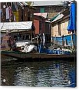 Cartoon - Man Rowing Small Boat Laden With Vegetables In The Dal Lake In Srinagar Acrylic Print